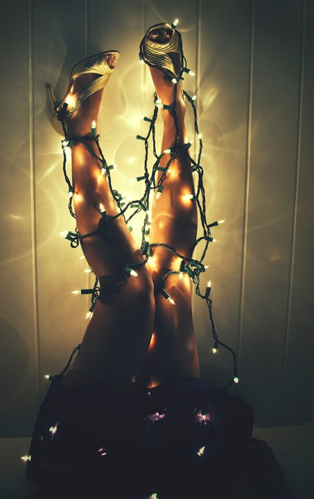 Tied up with christmas lights